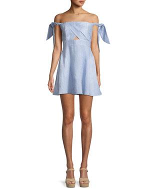 ccbb728f1e3 Bardot Linen Striped Tie-Shoulder Fit-and-Flare Dress