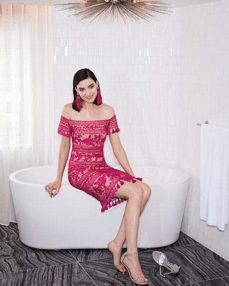 Tadashi Shoji Embroidered Off-the-Shoulder Tassel Cocktail Dress