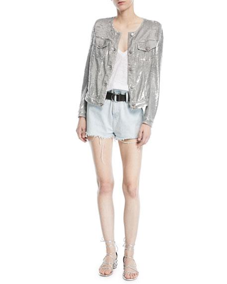 Andel Paperbag-Waist Denim Shorts