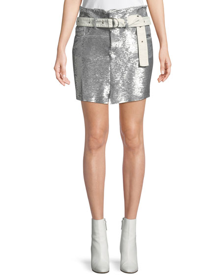 Iro Natou Belted Sequined Mini Skirt