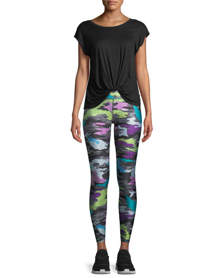 Multicolor Camo-Print Heathered Tall Band Leggings