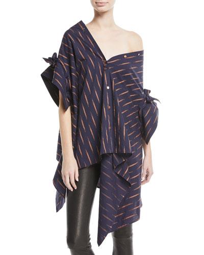 Jasmin Asymmetric Button-Down Oversized Cotton Shirt