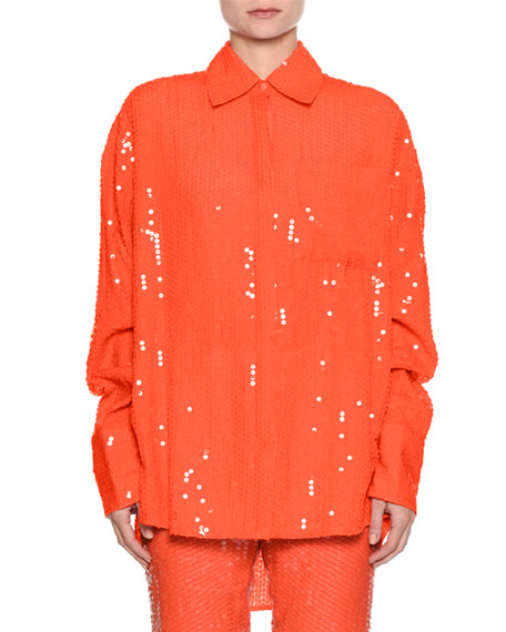 Neon Oversized Sequin Button-Down Blouse