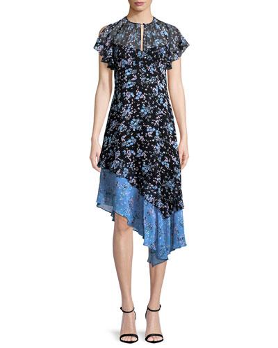 Desdemona Floral Silk Asymmetric Dress