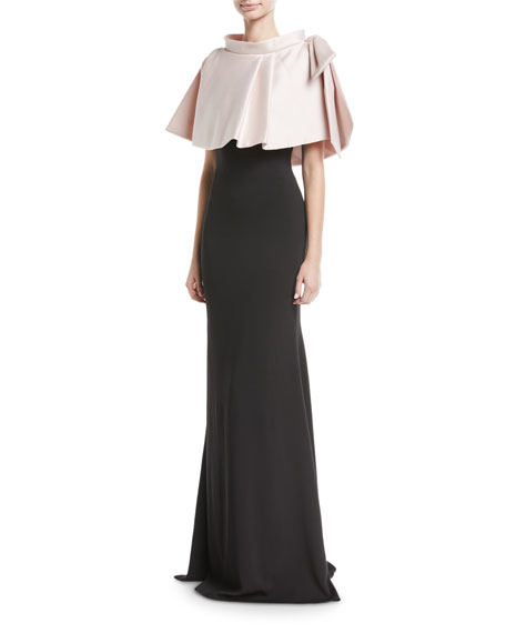 Two-Tone Popover Evening Gown