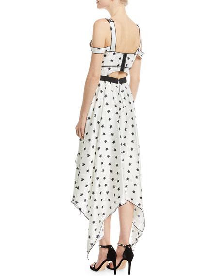 Printed Star Sleeveless Handkerchief Cocktail Dress