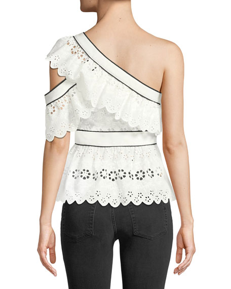 One-Shoulder Broderie Anglaise Frill Top