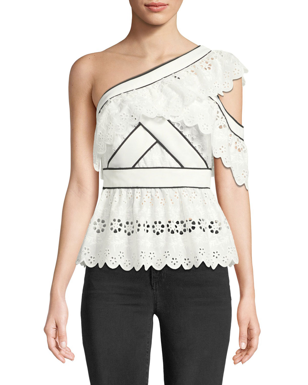 345a75932b3d2 Self-Portrait One-Shoulder Broderie Anglaise Frill Top