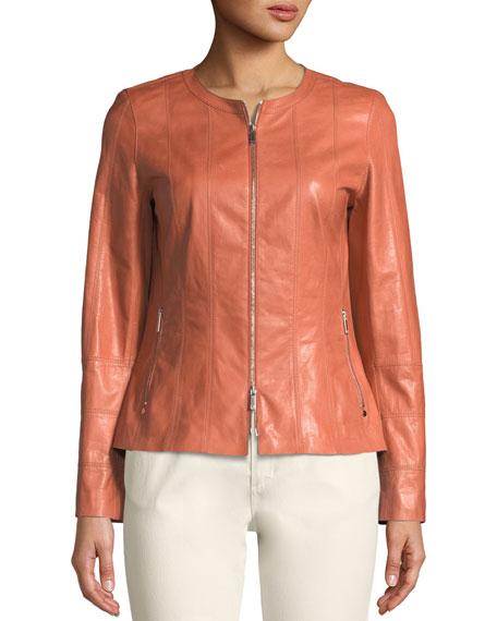 Courtney Round-Neck Leather Zip Jacket