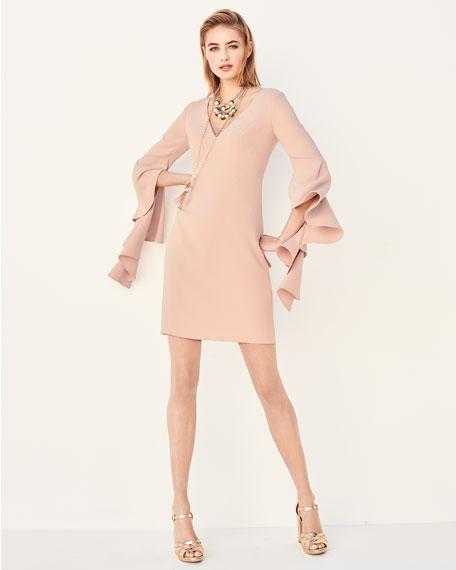 V-Neck Flounce-Sleeve Mini Cocktail Dress