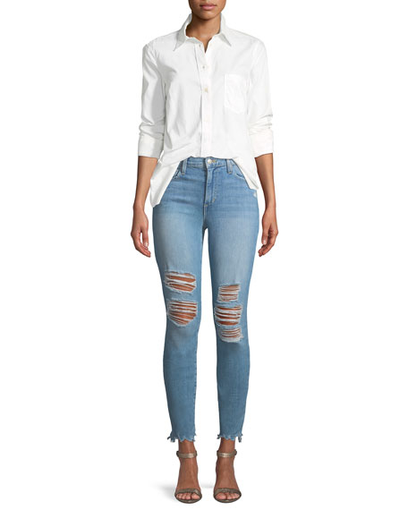 Charlie Mid-Rise Distressed Skinny-Leg Ankle Jeans