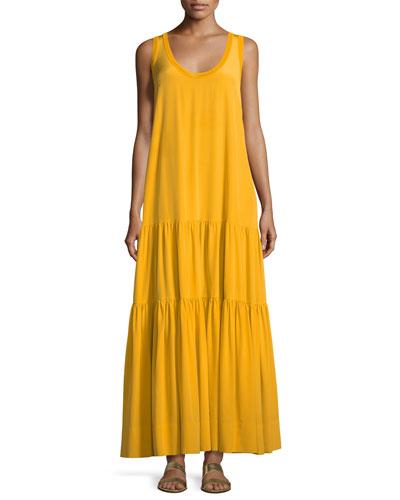 Hazel Scoop-Neck Sleeveless Silk Tank Dress