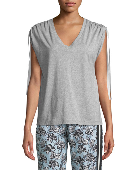 V-Neck Ruched-Shoulder Cotton Tee