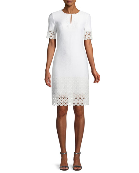 St. John Collection Caris Knit Lace-Trim Split-Neck Dress