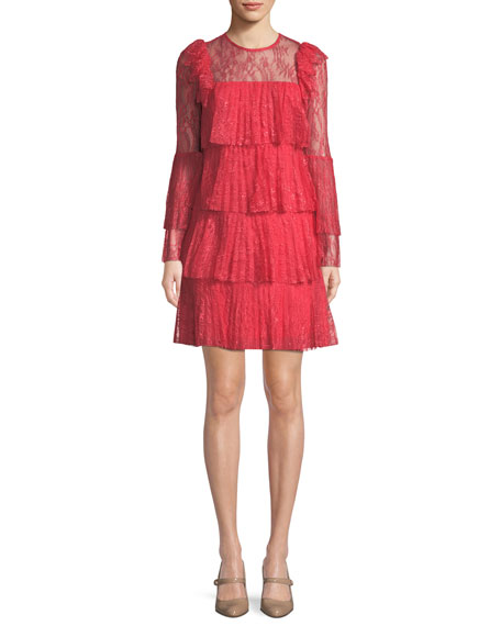 Badgley Mischka Tiered Pleated Lace Mini Dress