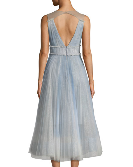 Ombre Pleated Tulle Tea-Length Cocktail Dress