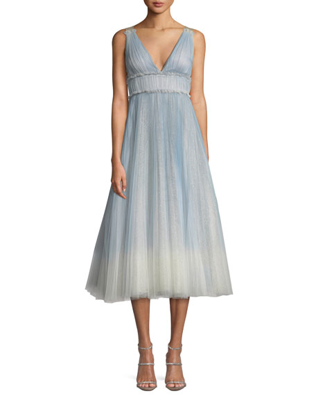 Marchesa Notte Ombré Pleated Tulle Tea-Length Cocktail Dress