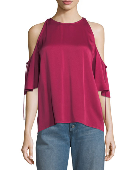 A.L.C. Fredo Crewneck Cold-Shoulder Satin Top
