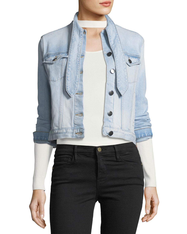 FRAME Le Tie-Neck Button-Front Light-Wash Denim Jacket