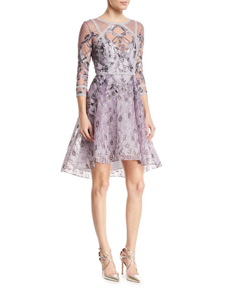 Embroidered High-Low Metallic-Trim Cocktail Dress
