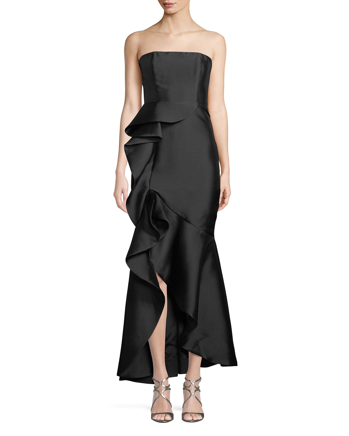1e6edebd6689 Fame and Partners The Seller Twill Strapless Bustier Gown w/ Side Ruffle