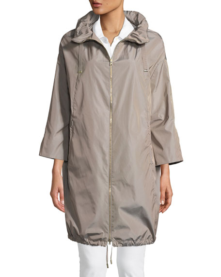 Long Modern Raincoat w/ Hidden Hood