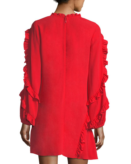 Ceretti Scoop-Neck Long-Sleeve Ruffled Crepe Dress