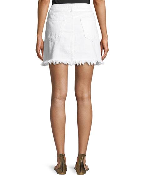 FRAME Le High Belted Mini Skirt w/ Raw-Edge
