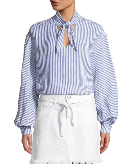 FRAME Handkerchief Striped Tie-Neck Linen Top