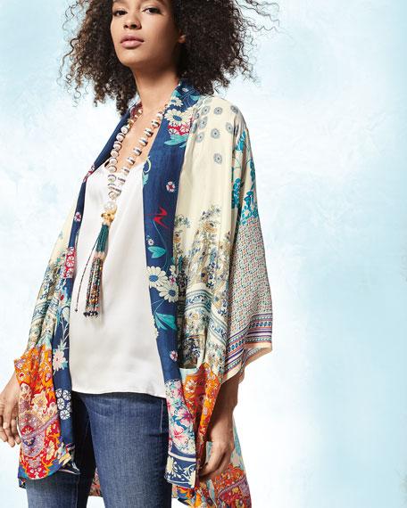 Mixed-Print Twill Kimono Jacket, Petite