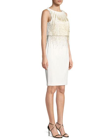 Square-Neck Flounce-Sleeve Dress
