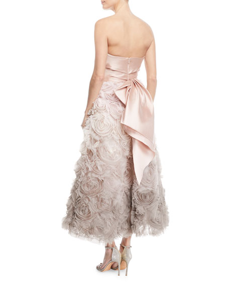 Ombré Textured Tea Dress w/ Draped Bodice