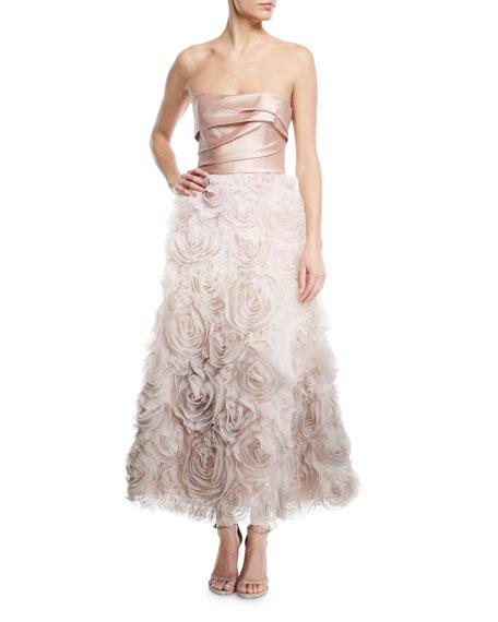 Marchesa Notte Ombré Textured Tea Dress w/ Draped