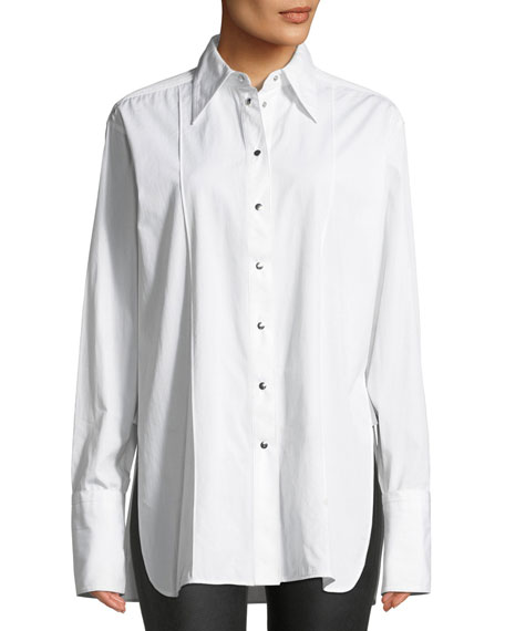 Point-Collar Snap-Front Long-Sleeve Cotton Shirt