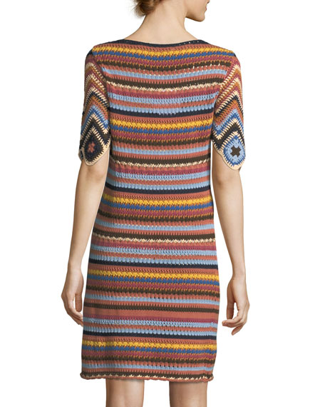 See by Chloe Striped Knit Short-Sleeve Cotton Dress