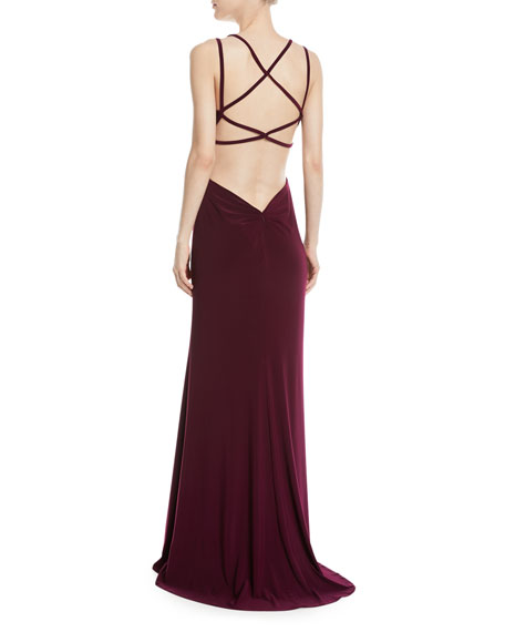 Strappy Matte Jersey Column Gown