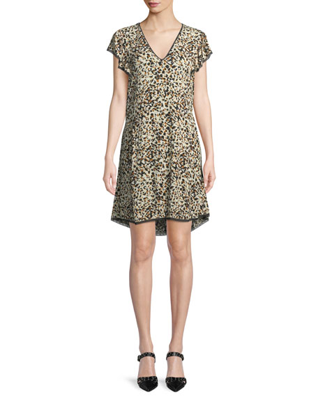 Ringo V-Neck Leopard-Print Crinkled Crepe Dress