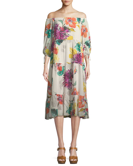 Cattleya Splendor in the Garden Silk Stretch Dress