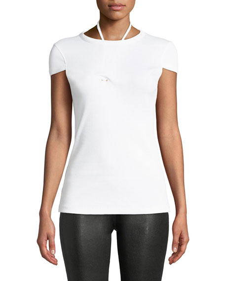 Helmut Lang Drawstring-Pull Cap-Sleeve Ribbed Cotton Tee