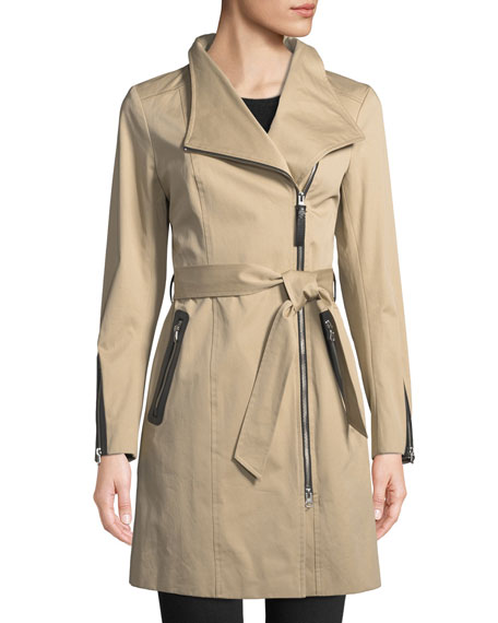 Mackage Estela Belted Trench Coat w/ Contrast Zippers