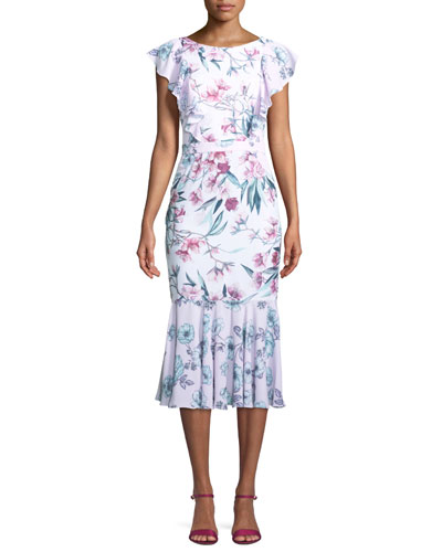 The Janine Floral Crisscross Midi Dress