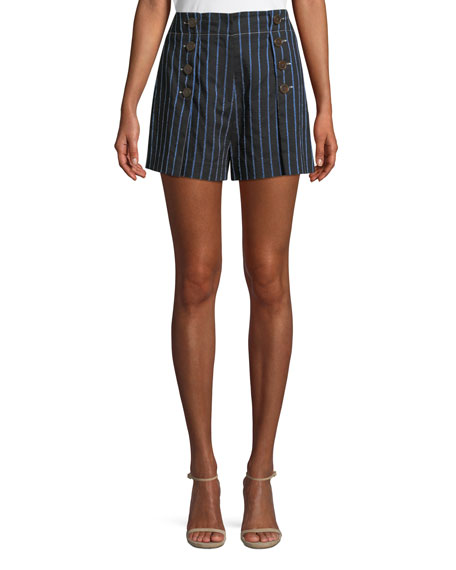 Derek Lam 10 Crosby Striped Cotton-Linen Short with