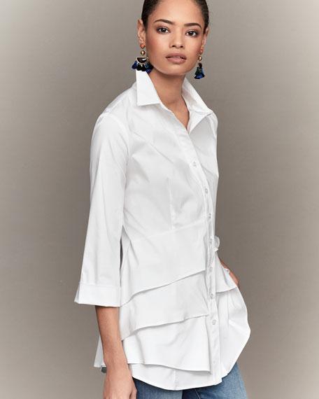 Plus Size Jenna Tiered-Ruffle Long Blouse