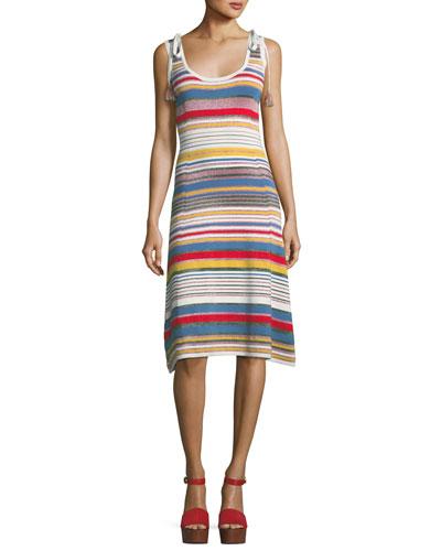 Dulce Metallic Striped Dress