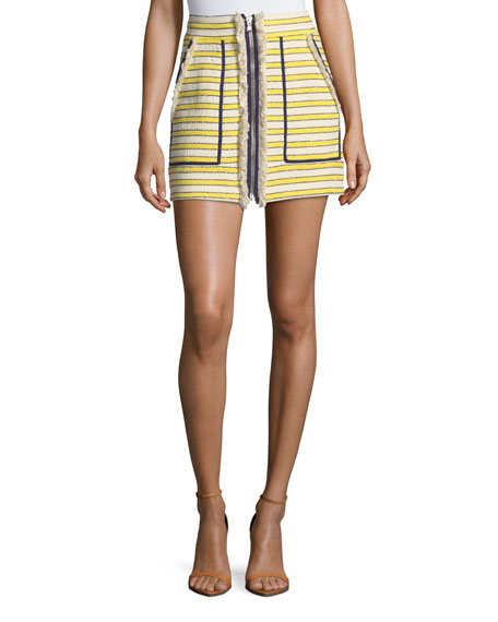 Veronica Beard Lynden Mini Skirt w/ Zip Front