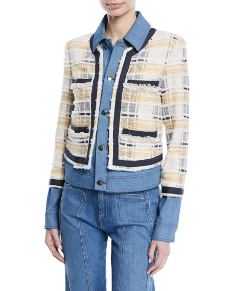 Santiago Button-Front Combo Tweed & Denim Jacket