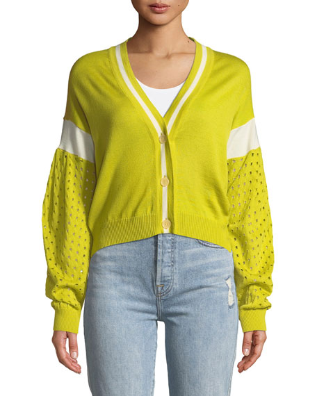 Three-Button Cardigan w/ Contrast Sleeves