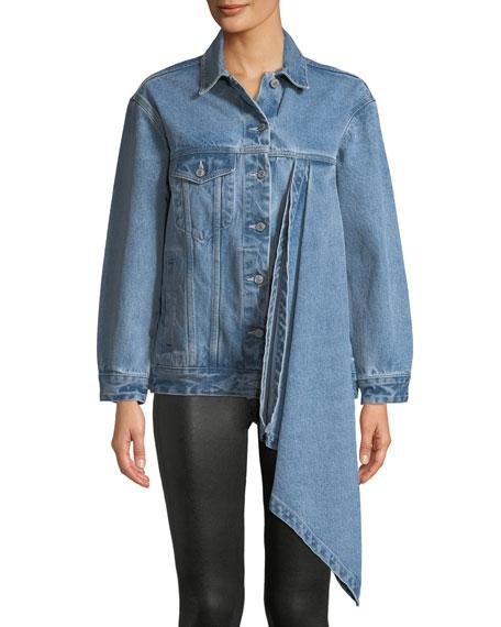 Denim Jacket w/ Asymmetric Draped Detail