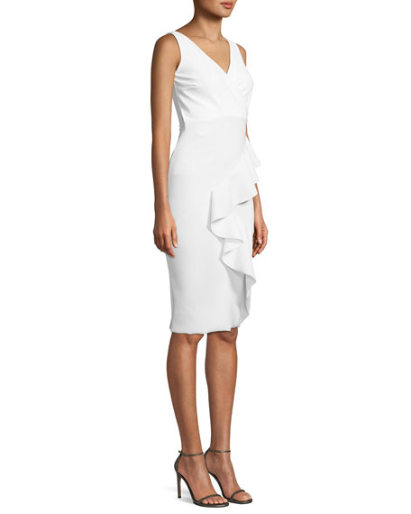 Ceren Asymmetric-Ruffle Wrap Sheath Dress