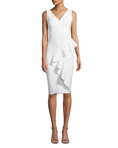 Ceren Asymmetric-Ruffle Wrap Sheath Dress